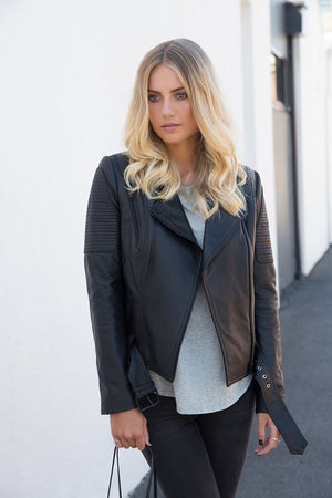 Ena Pelly - Classic Biker Jacket - Black/Black