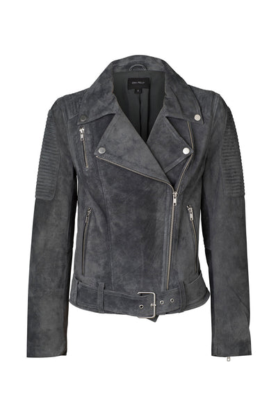 Ena Pelly - Suede Biker Jacket - Charcoal