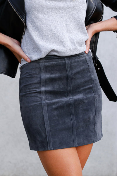 Ena Pelly - Panelled Mini Skirt - Charcoal - Preorder
