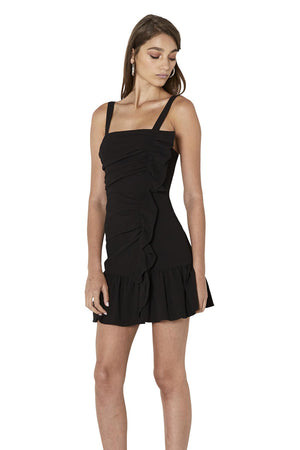 By Johnny - Gathered Ripple Mini Dress - Black