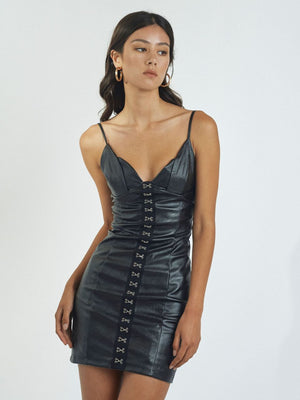 JULIETTA FAUX LEATHER MINIDRESS