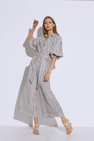 C/meo Collective - Inhale Jumpsuit - Cream with Black Check