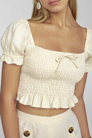 Faithfull the Brand - Marie Top - Plain Cream Linen