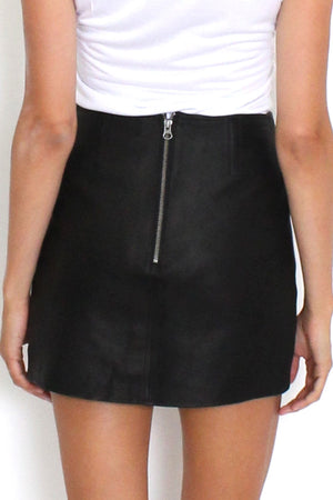 Museum - Alice Mini Leather Skirt - Black