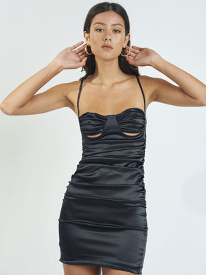 DAISY SATIN MINIDRESS - BLACK