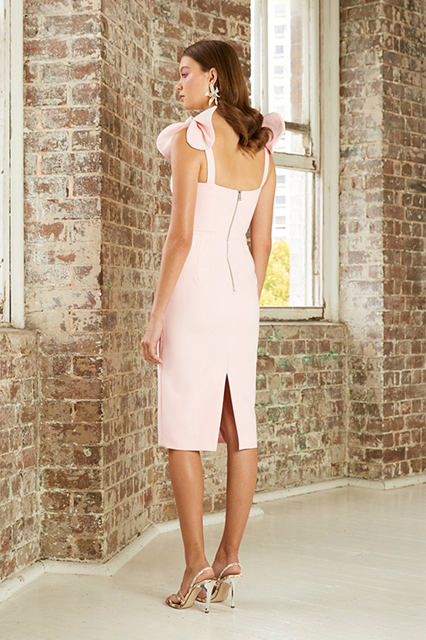 By Johnny - V Plunge Bow Shoulder Midi Dress - Baby Pink
