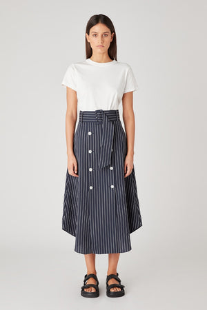 C&M - Pollino Stripe Skirt - Navy & White stripe