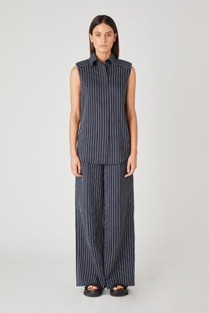 C&M - Pollino Stripe Sleeveless Shirt - Navy & White stripe