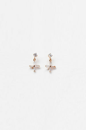 Reliquia - Mini Cross Earrings - Clear