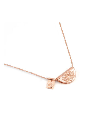 By Charlotte - Rose Gold Lotus and Little Buddha Necklace