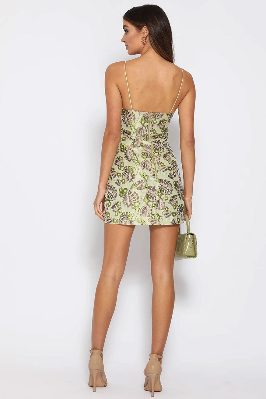 Runaway - Elodie Mini Dress - Green Jacquard