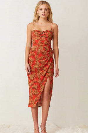 Bec & Bridge - Shady Palm Midi Dress - Red Palm