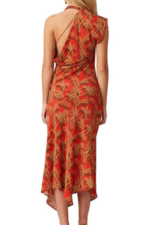 Bec & Bridge - Shady Palm Asym Midi Dress - Red Palm