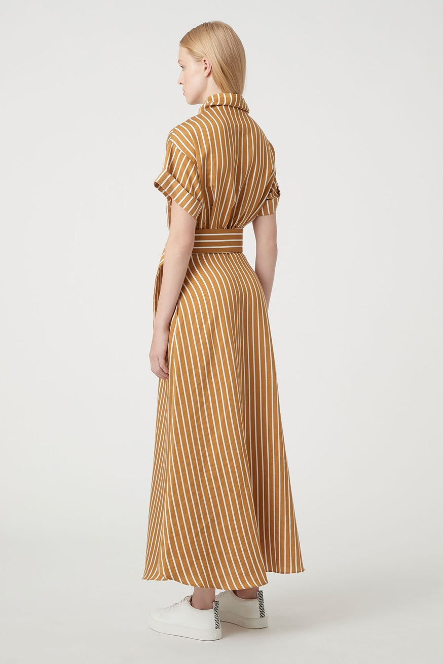 C&M - Zion Stripe Dress - Tan & White