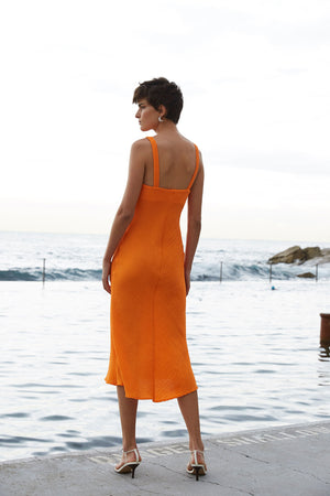 By Johnny - Crinkle Bias Slip Midi Dress - Tangerine