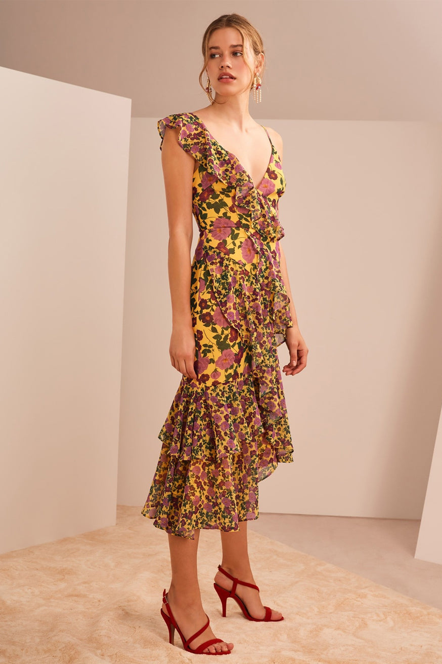 Keepsake the Label - Waves Midi Dress - Golden Floral