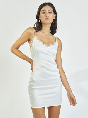 MOON RIVER SATIN MINIDRESS - WHITE