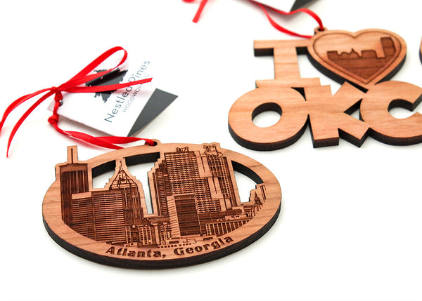 Nestled Pines Woodworking Cityscape Ornaments