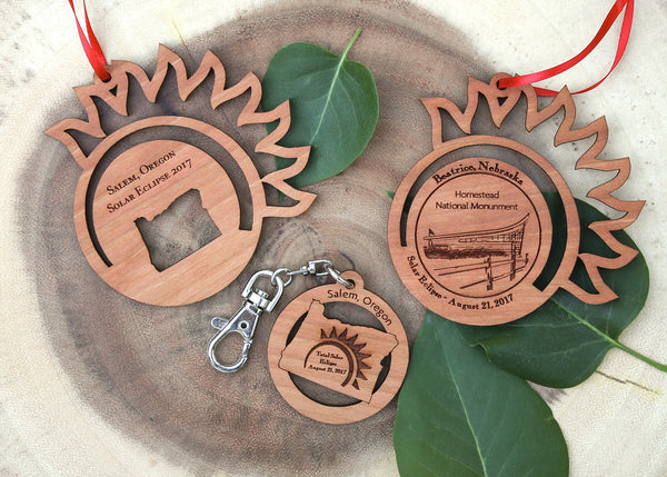 Solar Eclipse August 2017 Wood Ornaments