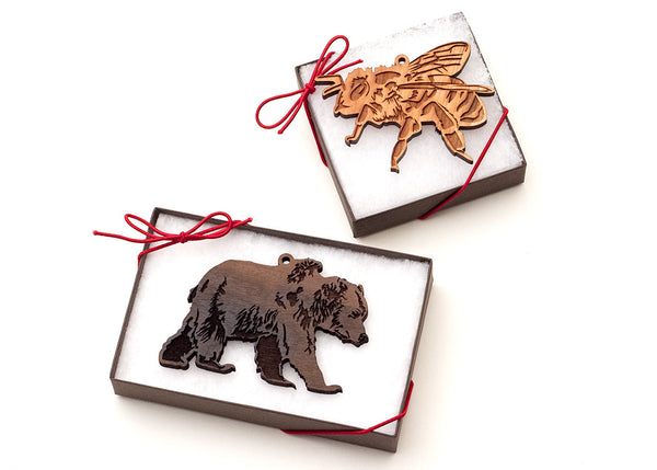 Clear Box Packaging for Wood Ornaments from Nestled Pines Woodworking