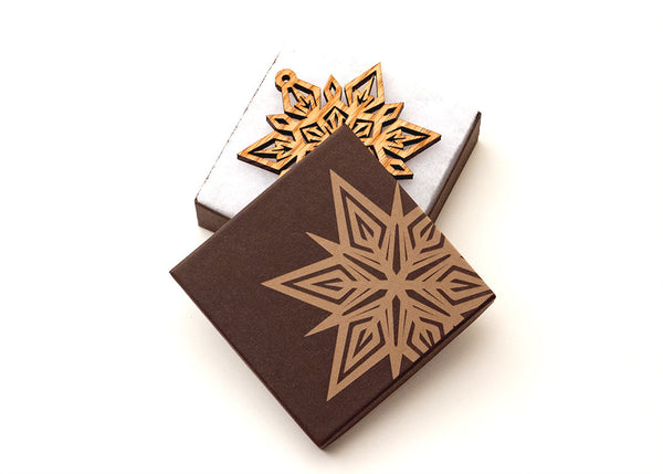 Custom Engraved Box Packaging for Wood Ornaments from Nestled Pines Woodworking