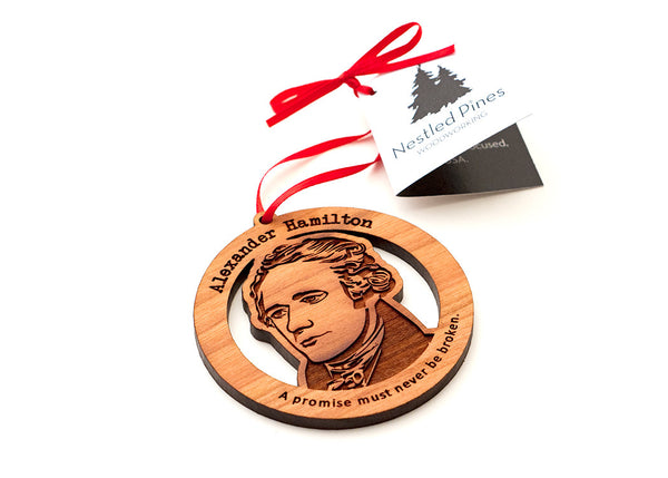 Alexander Hamilton Wood Ornament from Nestled Pines Woodworking