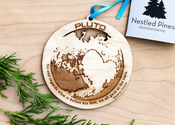 pluto dwarf planet wood ornament