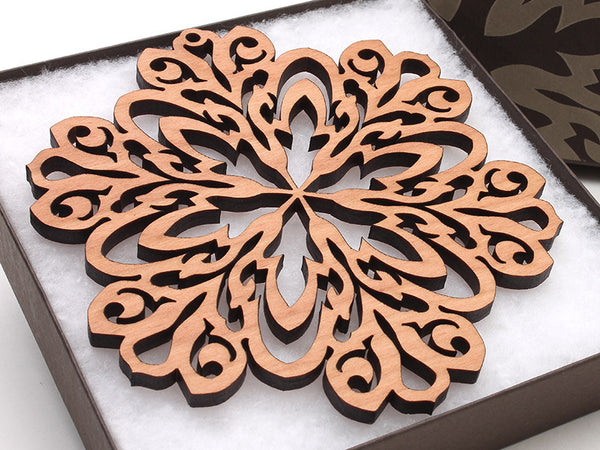 "2016 NEW Detailed 5"" Wood Snowflake Ornament Gift Box - Design A - Nestled Pines - 1"