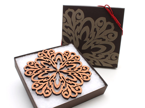 "2016 NEW Detailed 5"" Wood Snowflake Ornament Gift Box - Design A - Nestled Pines - 3"