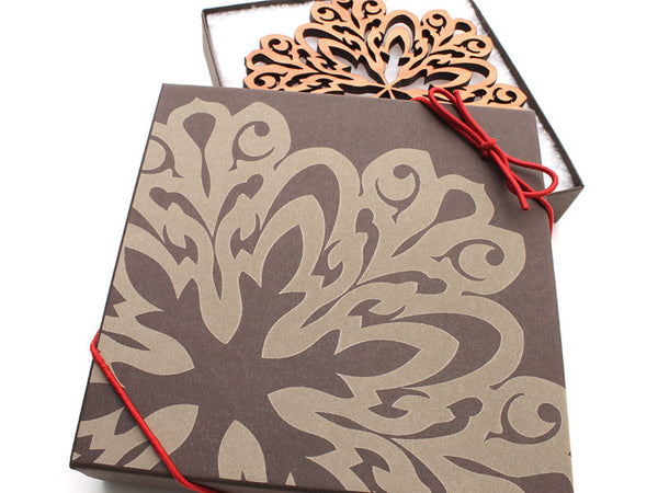 "2016 NEW Detailed 5"" Wood Snowflake Ornament Gift Box - Design A - Nestled Pines - 2"