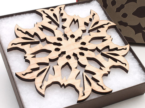 "2016 NEW Detailed 5"" Wood Snowflake Ornament Gift Box - Design B - Nestled Pines - 1"