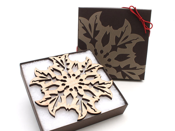 "2016 NEW Detailed 5"" Wood Snowflake Ornament Gift Box - Design B - Nestled Pines - 2"
