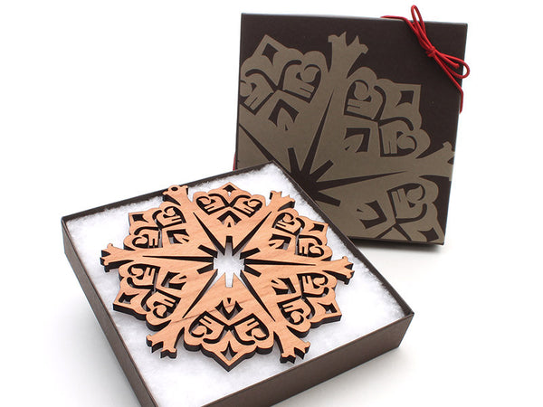 "2016 NEW Detailed 5"" Wood Snowflake Ornament Gift Box - Design C - Nestled Pines - 3"