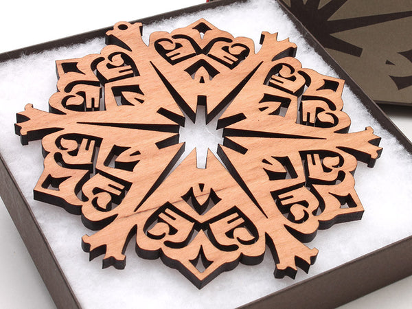 "2016 NEW Detailed 5"" Wood Snowflake Ornament Gift Box - Design C - Nestled Pines - 1"