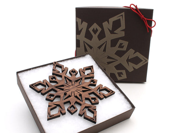 "2016 NEW Detailed 5"" Wood Snowflake Ornament Gift Box - Design D - Nestled Pines - 3"