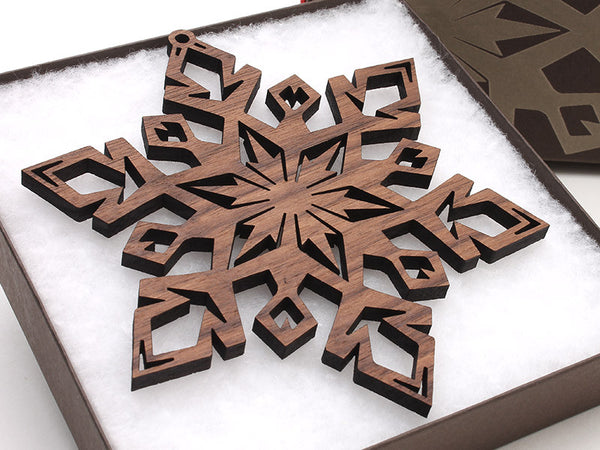 "2016 NEW Detailed 5"" Wood Snowflake Ornament Gift Box - Design D - Nestled Pines - 1"
