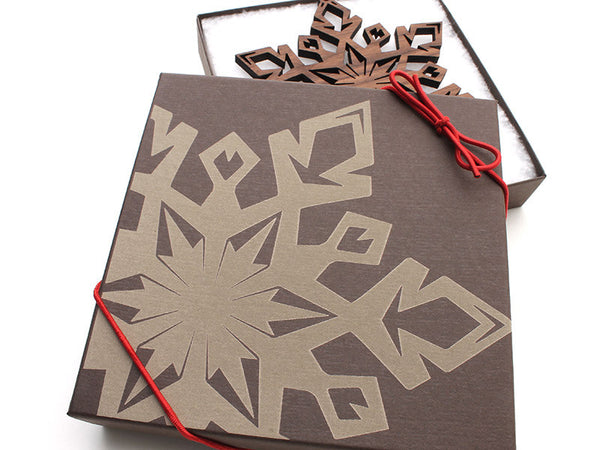 "2016 NEW Detailed 5"" Wood Snowflake Ornament Gift Box - Design D - Nestled Pines - 2"