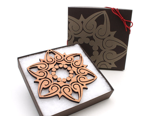 "2016 NEW Detailed 5"" Wood Snowflake Ornament Gift Box - Design E - Nestled Pines - 3"