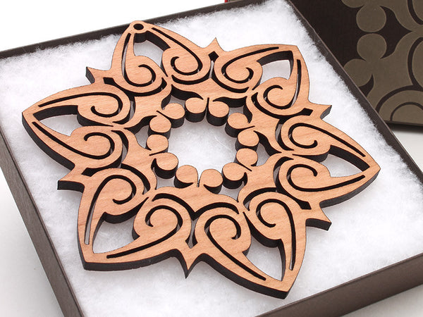 "2016 NEW Detailed 5"" Wood Snowflake Ornament Gift Box - Design E - Nestled Pines - 1"