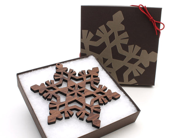 "2016 NEW Detailed 5"" Wood Snowflake Ornament Gift Box - Design F - Nestled Pines - 3"