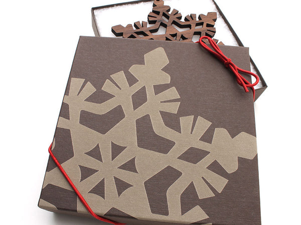 "2016 NEW Detailed 5"" Wood Snowflake Ornament Gift Box - Design F - Nestled Pines - 2"