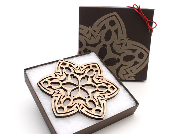 "2016 NEW Detailed 5"" Wood Snowflake Ornament Gift Box - Design G - Nestled Pines - 3"