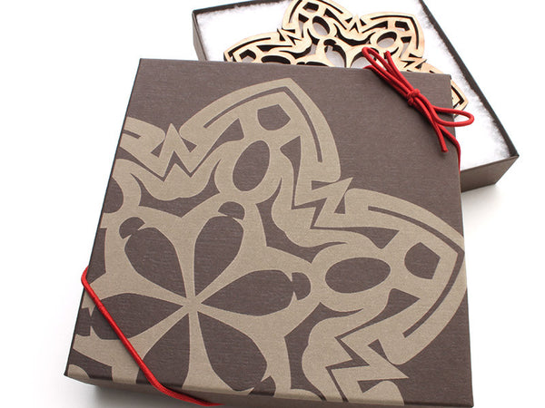 "2016 NEW Detailed 5"" Wood Snowflake Ornament Gift Box - Design G - Nestled Pines - 2"