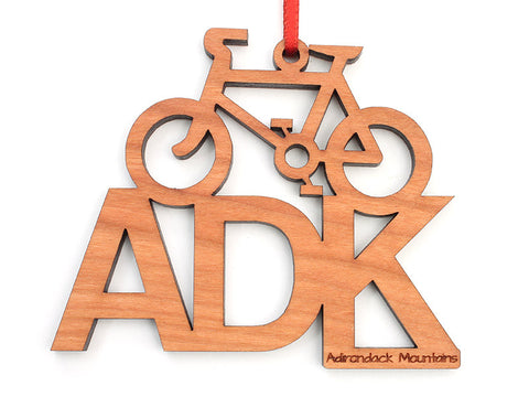 ADK Bike Text Ornament - Nestled Pines