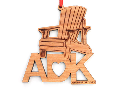 ADK Chair Text Ornament - Nestled Pines