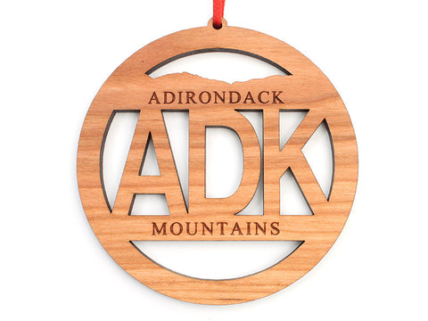 ADK Circle Text Ornament - Nestled Pines