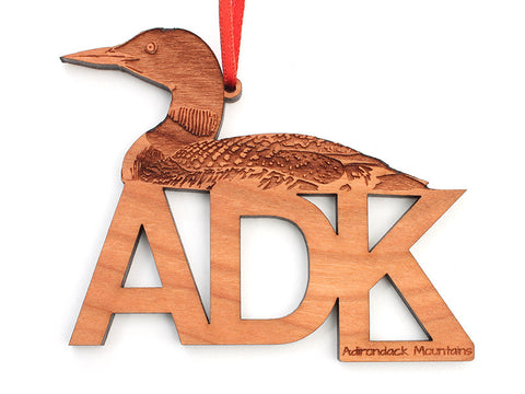 ADK Loon Text Ornament - Nestled Pines