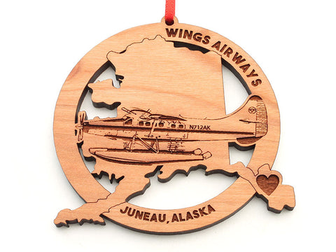 Wings Airways Alaska State Shape Ornament with Float Plane Insert