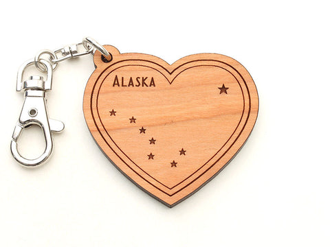 Alaska State Flag Heart Key Chain