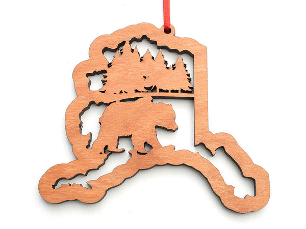 Smiling Moose Alaska Ornament with Grizzly Insert - Nestled Pines
